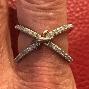 Diamond Criss Cross Sterling Silver Ring Size 7